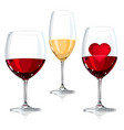 wine glass with red and white vector image vector image