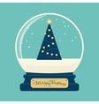 Merry christmas glass ball with tree vector image