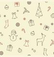 christmas symbols seamless background vector image