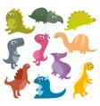 cute cartoon dinosaurs isolated on white vector image