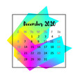 2020 calendar design abstract concept december vector image vector image