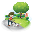 A woman and her puppy at the street vector image vector image