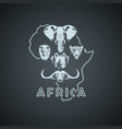 african continent shape with big five animals vector image