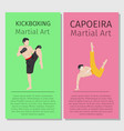 asian martial arts kickboxing and capoeira vector image vector image