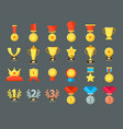 award icons golden trophy cup reward goblets and vector image
