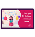 banner happy woman celebrate birthday vector image vector image