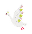 beautiful white flying swan princess with golden vector image vector image