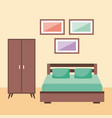 bedroom interior with furniture frame wardrobe vector image