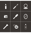 black cosmetics eyes icons set vector image vector image