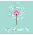 Burning love match with pink fire light shining vector image vector image