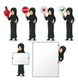 businesswoman with veil holding sign board vector image