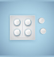 capsules and pills in new blister pack medical vector image vector image