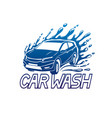 car wash blue sign vector image vector image