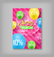card spring sale discount percent flower vector image vector image