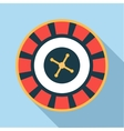 Casino roulette wheel icon flat style vector image vector image
