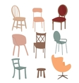 chairs armchair furniture icon set flat interior vector image vector image