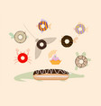 donuts top view sea inhabitants vector image vector image