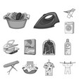 dry cleaning equipment monochrome icons in set vector image