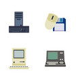 flat icon laptop set of processor computing vector image vector image