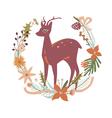 Floral design with deer vector image vector image