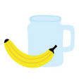 fresh banana fruit with beverage jar vector image