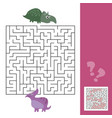 funny maze for children help the dino to find vector image