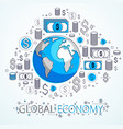 global economy concept planet earth with dollar vector image vector image