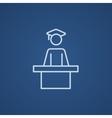 Graduate standing near tribune line icon vector image