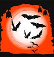 Halloween background - flying bats in full moon vector image vector image