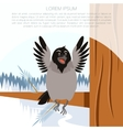 happy crow on winter flat background vector image vector image