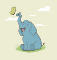 happy elephant is playing vector image
