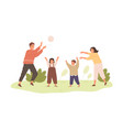 happy healthy family with kids playing with ball vector image vector image