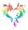 heart rainbow drops vector image vector image