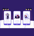 hockey game mobile app page onboard screen set vector image vector image