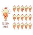 ice cream emoji sticker icon set vector image