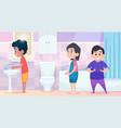 kindergarten hygiene kids standing in waiting vector image