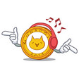 listening music monacoin mascot cartoon style vector image vector image