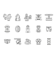 Longboarder accessories thin line icons vector image vector image