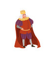 majestic king in golden crown european medieval vector image vector image