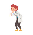 male chemist holding test flask crazy scientist vector image vector image