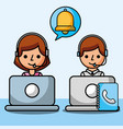 operator woman and man using laptop customer vector image vector image