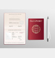 passport with red cover and pen mockup set 3d vector image