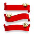 red ribbons with gold crowns vector image