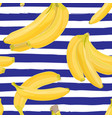 seamless hand drawn tropical pattern with banana vector image