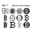 set abstract bitcoin technology vector image vector image