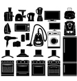 Set of black icons of household appliances vector image vector image