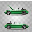 set of broken cartoon green cabriolet sport car vector image