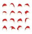 set red santa claus hats vector image vector image