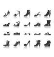 shoes black silhouette icons set vector image