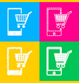 shopping on smart phone sign four styles of icon vector image
